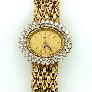 14K Yellow & Diamond Geneve Ladies Wristwatch