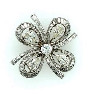 Art Deco Platinum Diamond Four Leaf Clover Pin