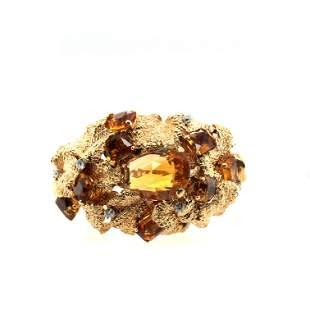 Vintage 14K Yellow Gold Diamond & Citrine Bangle