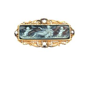 French 18K Yellow Gold Victorian 2 Layer Agate Cameo