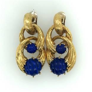 Pair of Italian 18K Yellow Gold and Lapis Lazuli