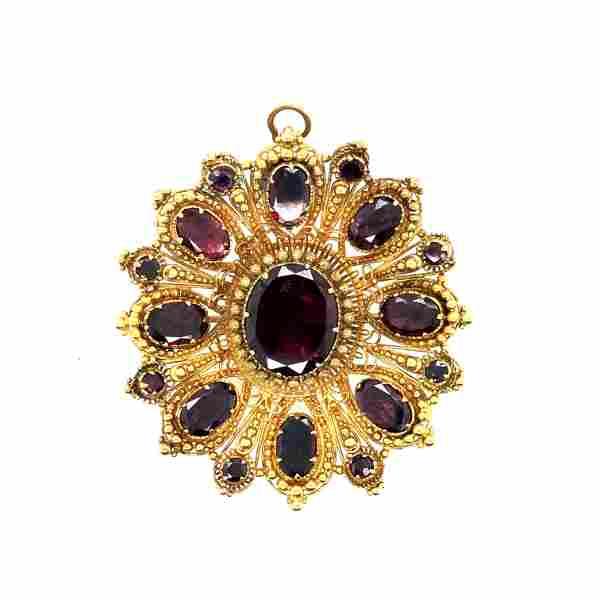Victorian 15 Yellow Gold & Garnet Pendant / Brooch