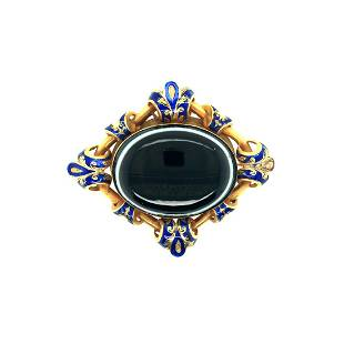 Victorian 18K Yellow Gold Banded Agat & Blue Enamel Pin