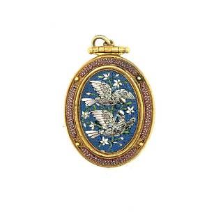 """Victorian Italian Micro Mosaic """"Doves of Pliny"""" Locket"""