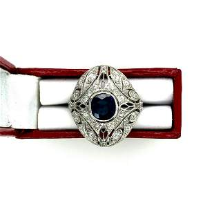 Edwardian Platinum Ceylon Sapphire & Diamond Ring