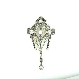 Edwardian Platinum Diamond & Natural Pearl Pendant
