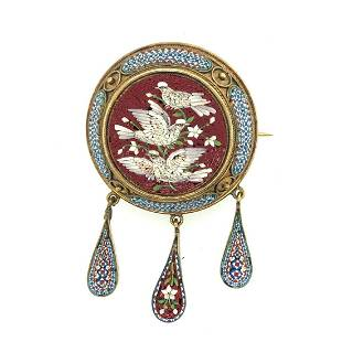 Victorian Italian Micro Mosaic Brooch
