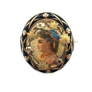 Victorian French Enamel Gold Brooch