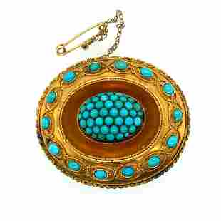 Victorian English 15K Yellow Gold & Persian Turquoise