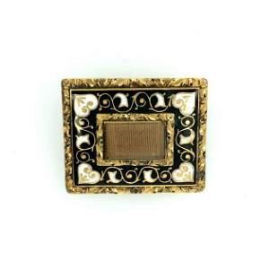 Victorian 14K Yellow Gold & Enamel Mourning Pin