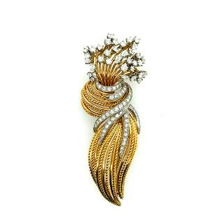 18K Yellow and White Gold Diamond Brooch