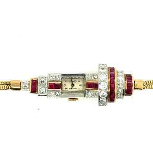 1940 Retro Platinum Yellow Gold Ruby & Diamond Ladies