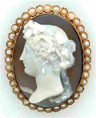 Victorian French 18K Yellow Gold High Relief Agate