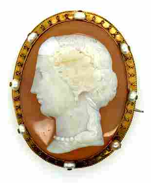 Victorian 14K Agate Cameo & Natural Pearl Brooch