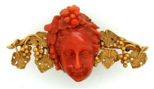 Victorian Italian 14K Yellow Gold Coral Cameo Brooch