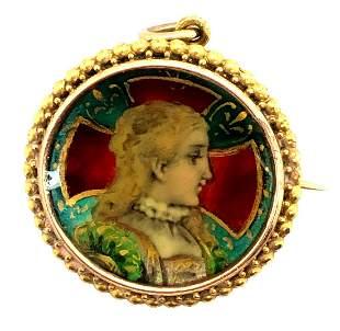 Art Nouveay French 18K Yellow Gold Enamel Pendant