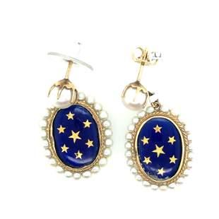 Pair of 14K Yellow Gold Blue Enamel & Natural Pearl