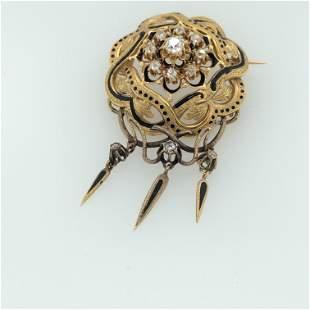 Victorian 18K Yellow Gold & Enamel Diamond Brooch