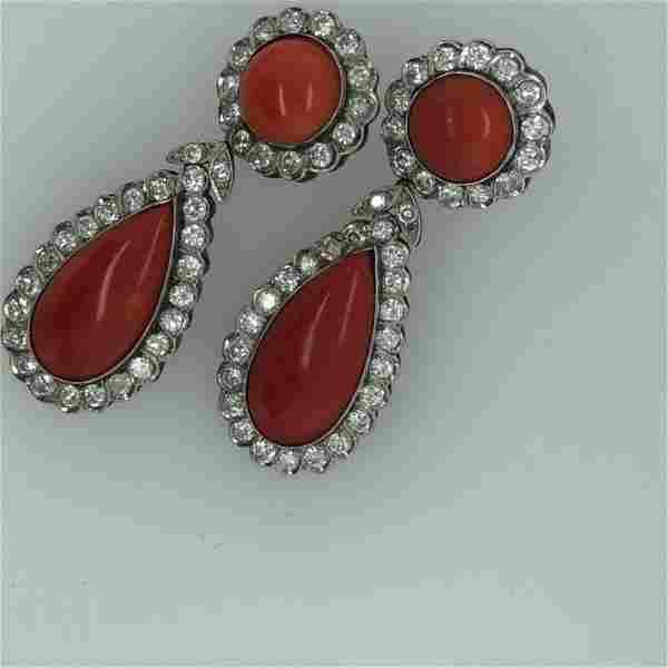 Art Deco 14K Yellow Gld Coral & Diamond Earrings