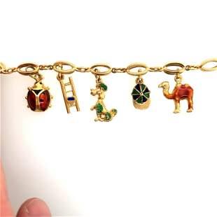 Vintage 18K Yellow Gold & Enamal Charm Bracelet