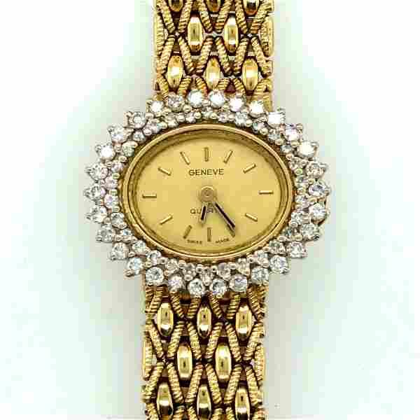 14K Yellow & Diamond Geneva Ladies Wristwatch
