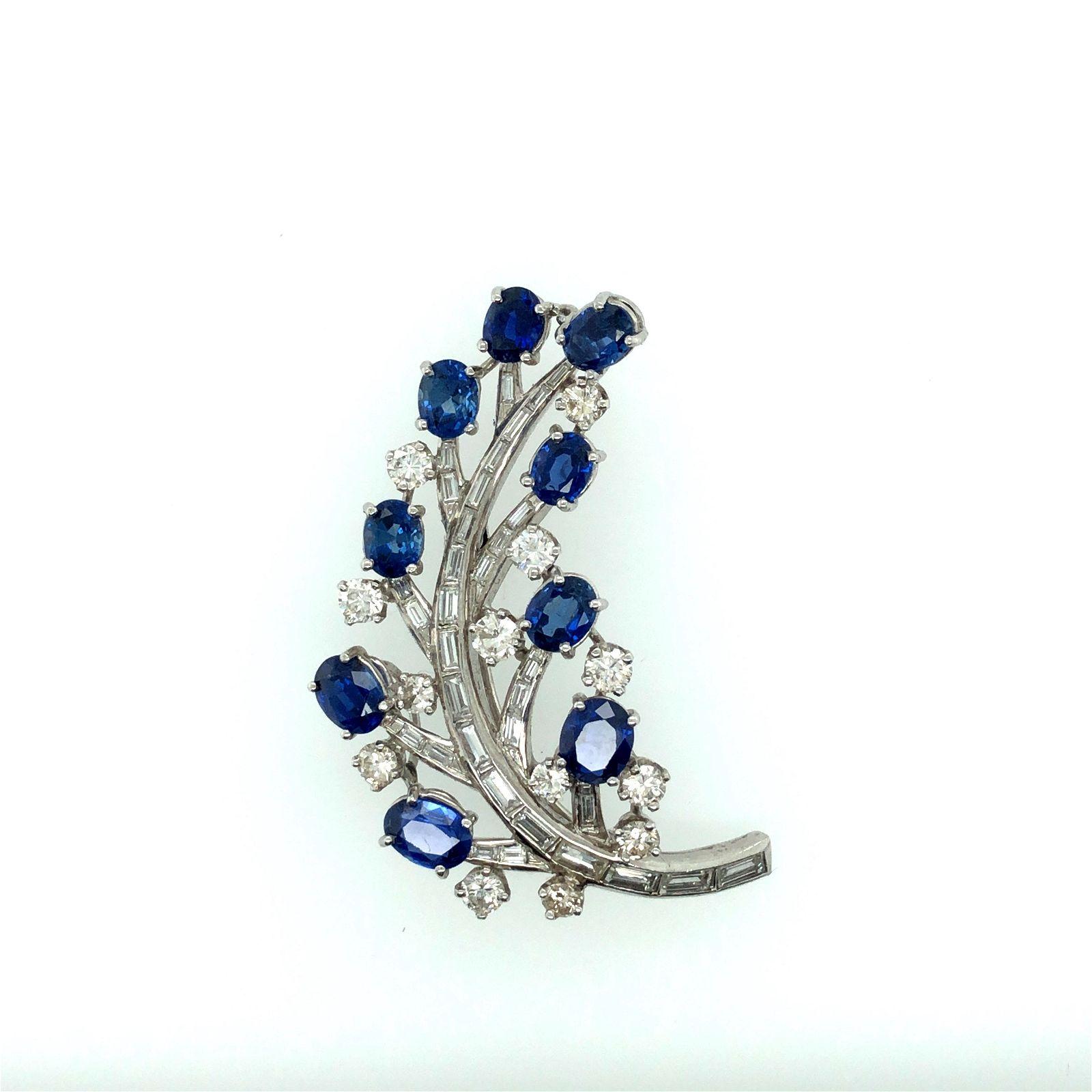 Platinum Diamond & Sapphire Floral Pin