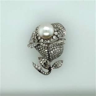 Platinum Diamond & South Sea Pearl Brooch
