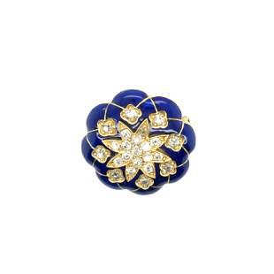 15k. Yellow gold victorian enamel and dimondes circle