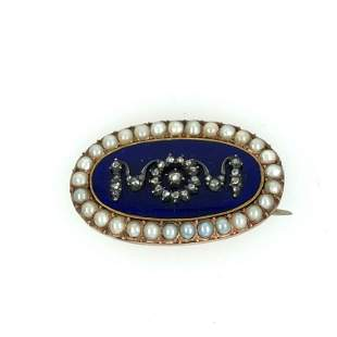 14 k. yellow gold Victorian blue enamel dimond and
