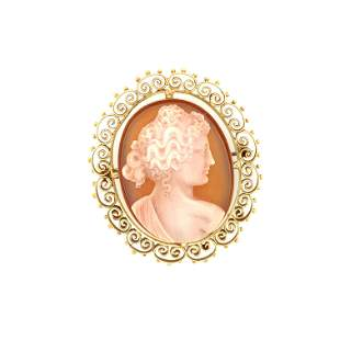 14 K. yellow gold Victorian agate camio brooch