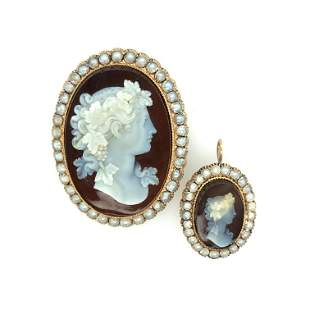 lot of 2 14k. Yellow gold victorian onyx camio brooch