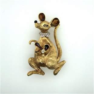 14 K, yellow Gold dimond and enamel kangroo brooch