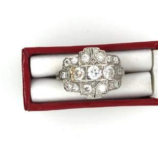art deco platinum and dimond ring