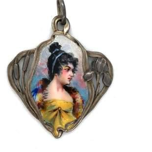 Art nouvau silver and enaml pendent