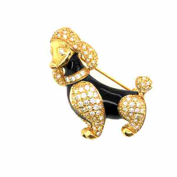 18 K yellow Gold dog brooch