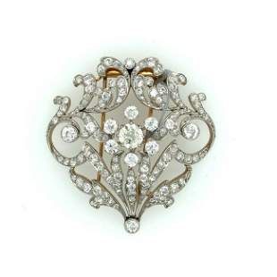 Edwardian. platinum yellow gold diamond brooch