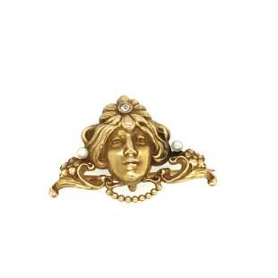 14 k yellow gold Art nouveau pin