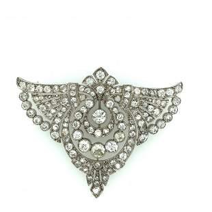 Art deco platinom and diamond brooch