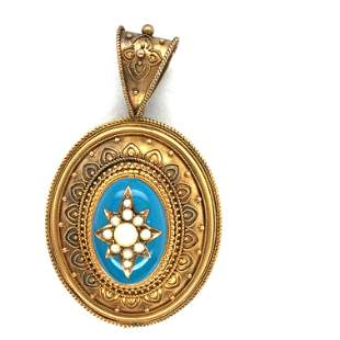 Victorian 14. k yellow gold pearls and enamel pendant