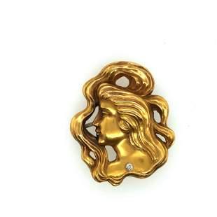 14 k. Yellow gold Art Nouveau brooch