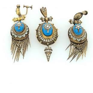 15 k yellow gold. Earrings and pendant enamel set