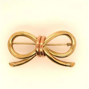 14K Yellow Gold ribbon brooch