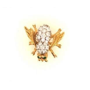 14 K yellow Gold Diamonds + emerald Bee pin.