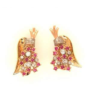 Pair of 18 k yellow gold diomand + ribies retro