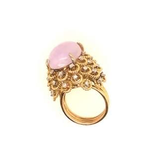 14k Yellow gold Diamonds + Lavender Jade Ring