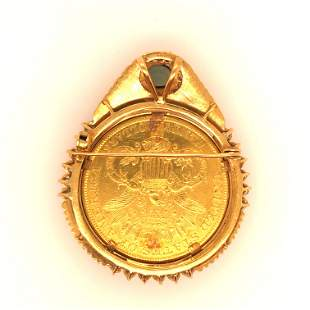 Yellow gold diamonds and tourmaline coin Brooch