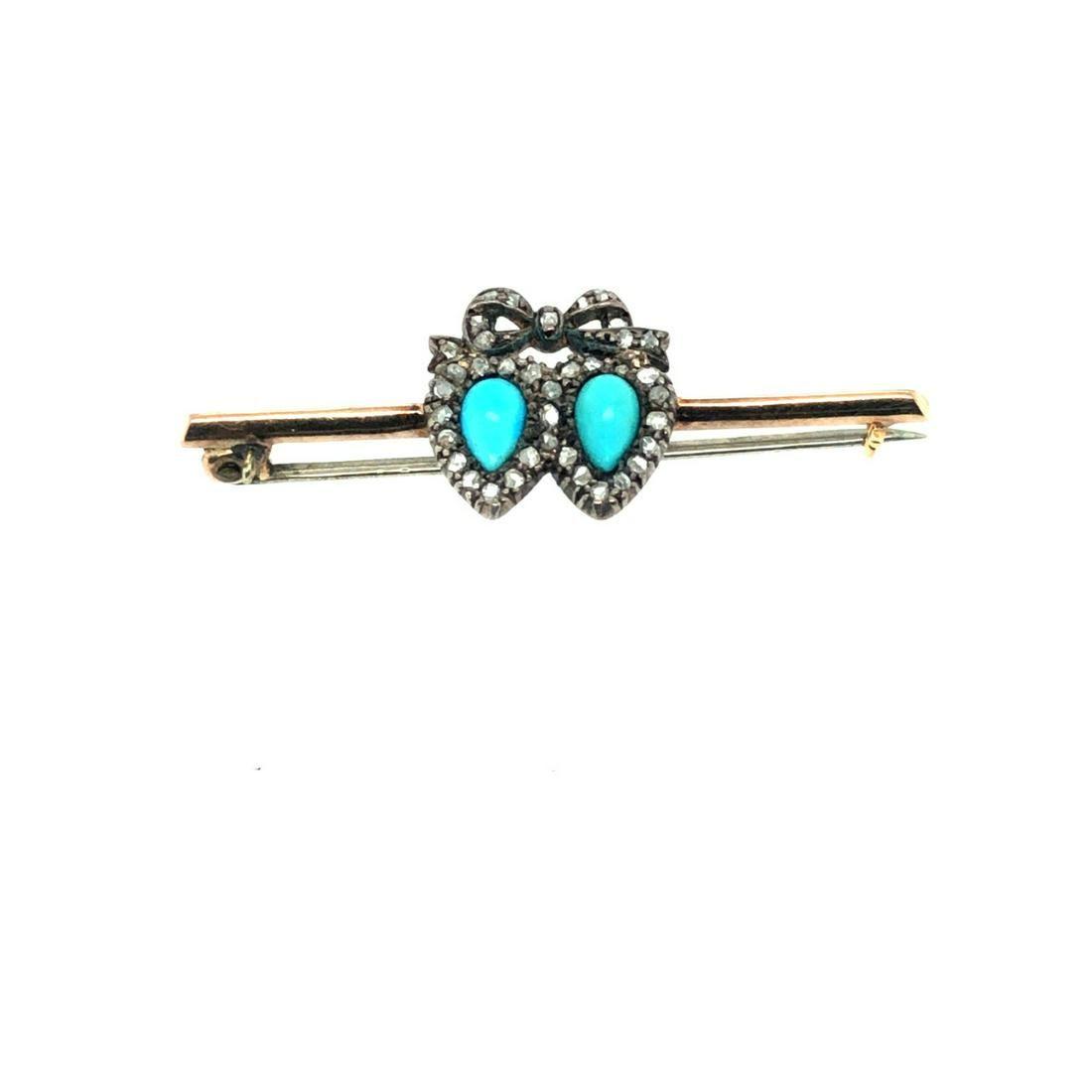 Victorian Double Heart Diamond Pin