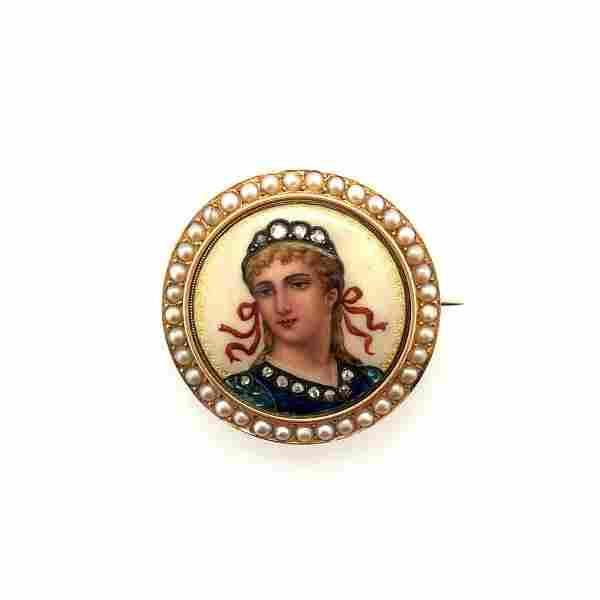 Art Nouveau French 18K Yellow Gold Enamel Pin with