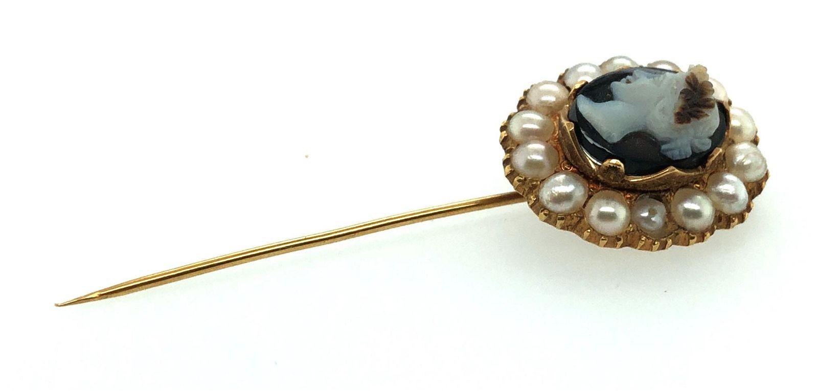 Victorian 14K Gold 3 Layer Agate Cameo Pearl Stick Pin