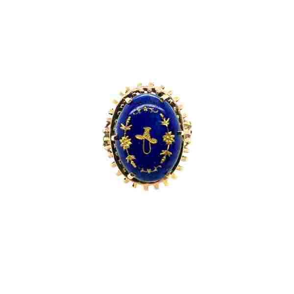 14K Yellow Gold & Blue Enamel Ring